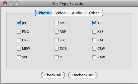 File Type Selection